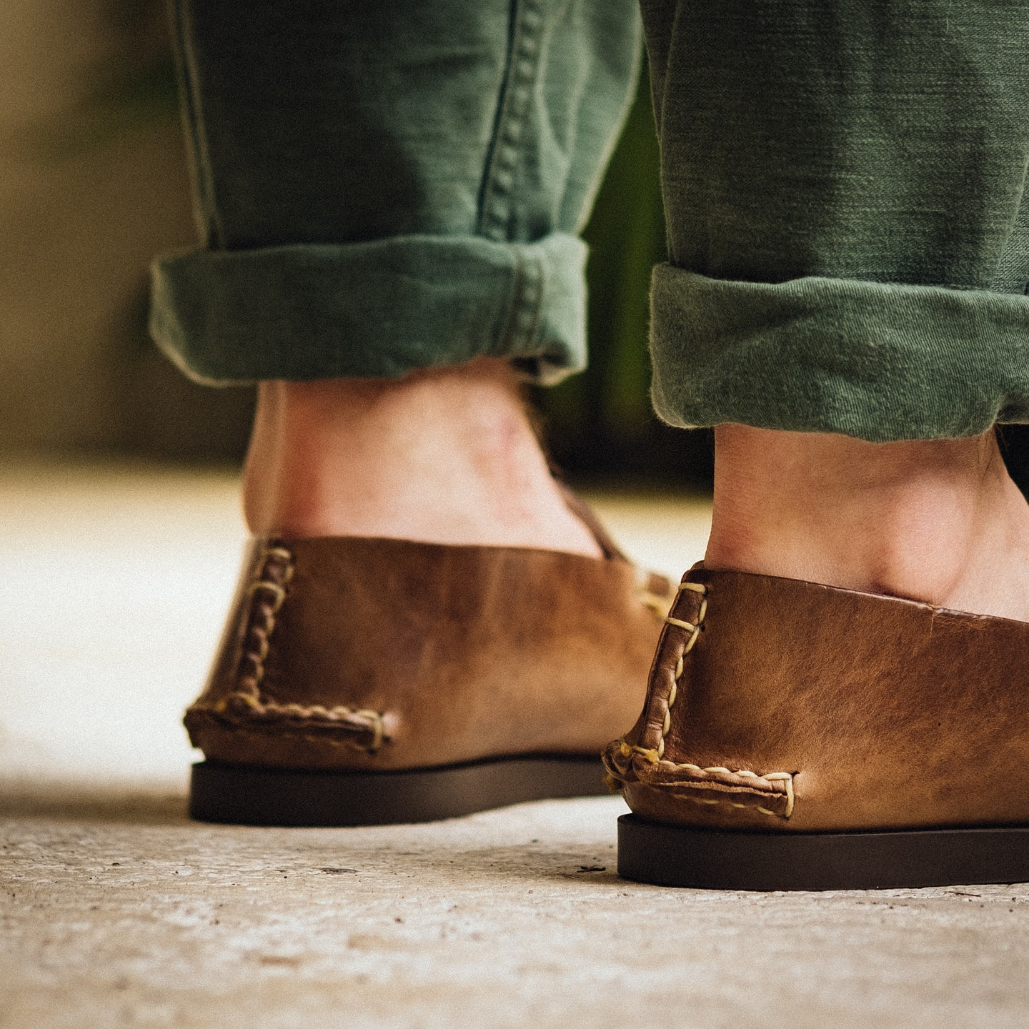 Slip Moc - Natural 12oz Chromexcel, Camp Sole - Made in USA