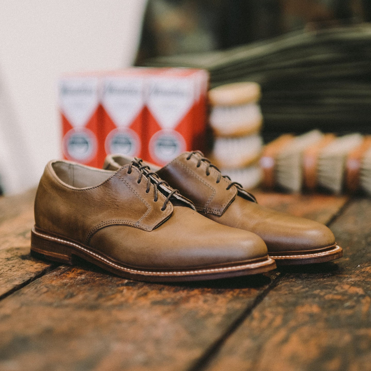 Natural Chromexcel Plain Toe Blucher - Feature Image