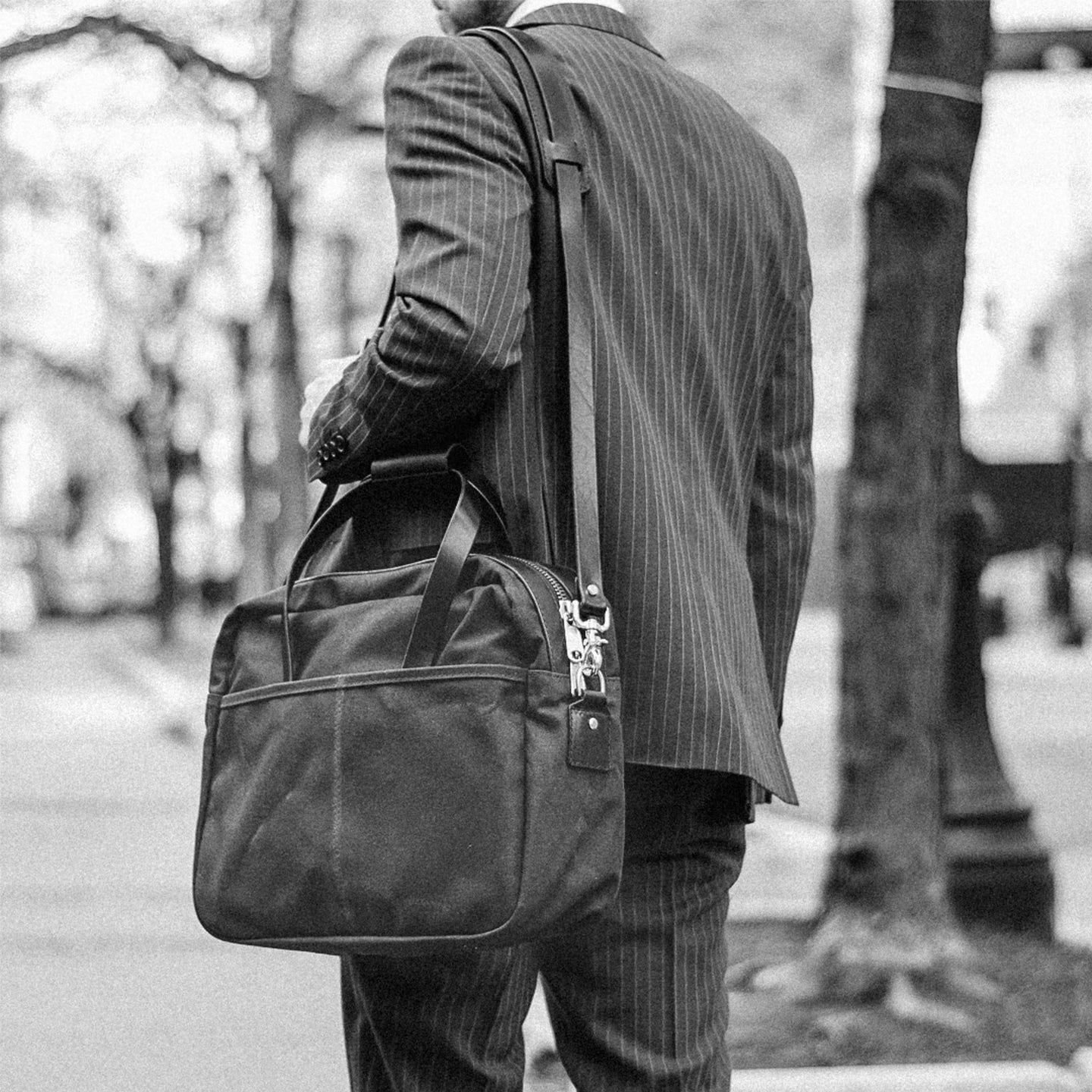 Brush Brown Waxed Canvas Utility Briefcase - Feature Image