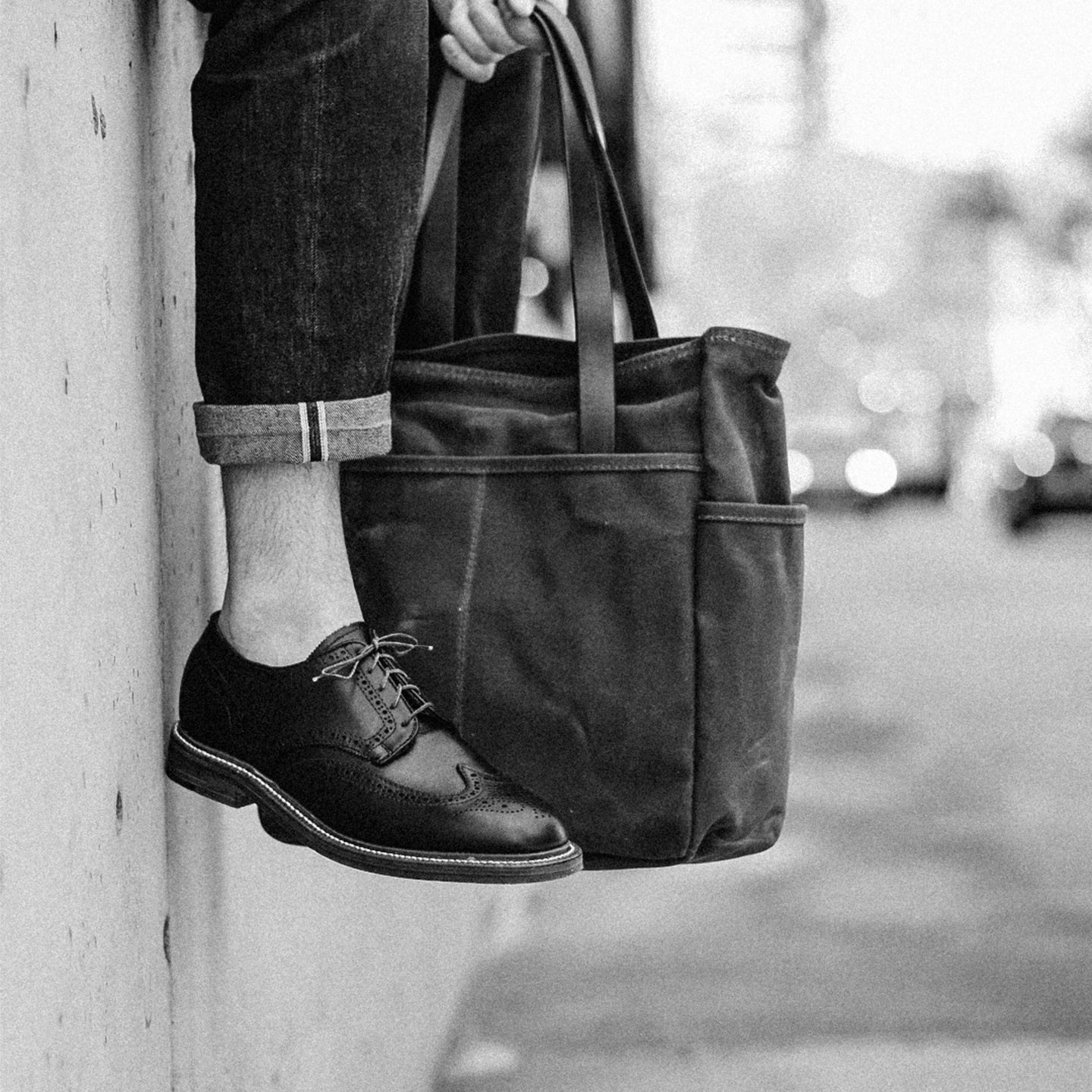 Brush Brown Waxed Canvas Utility Tote - Feature Image