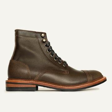 Cap-Toe Trench Boot - Dark Olive Waxed Flesh
