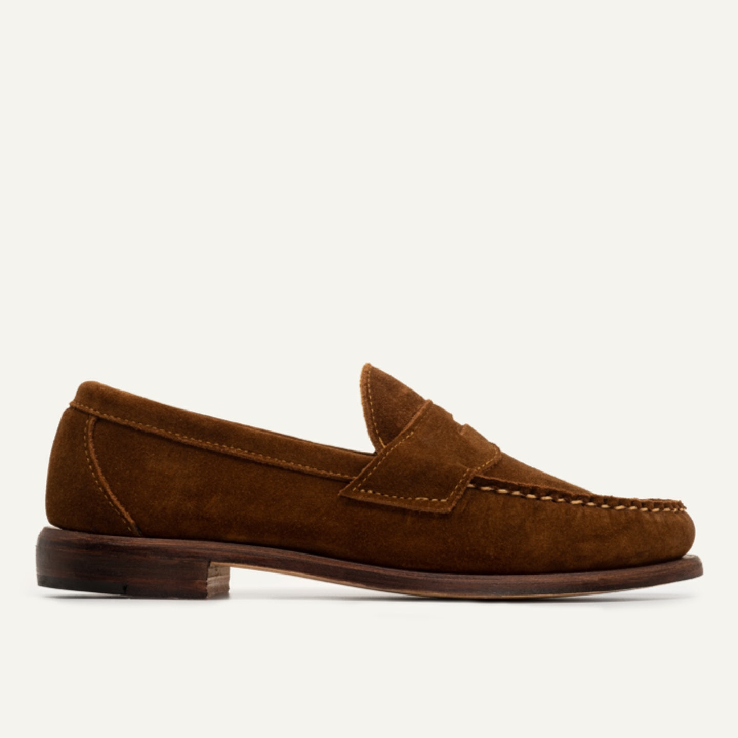 Penny Loafer in Snuff Repello Suede, Leather Sole with Dovetail Toplift