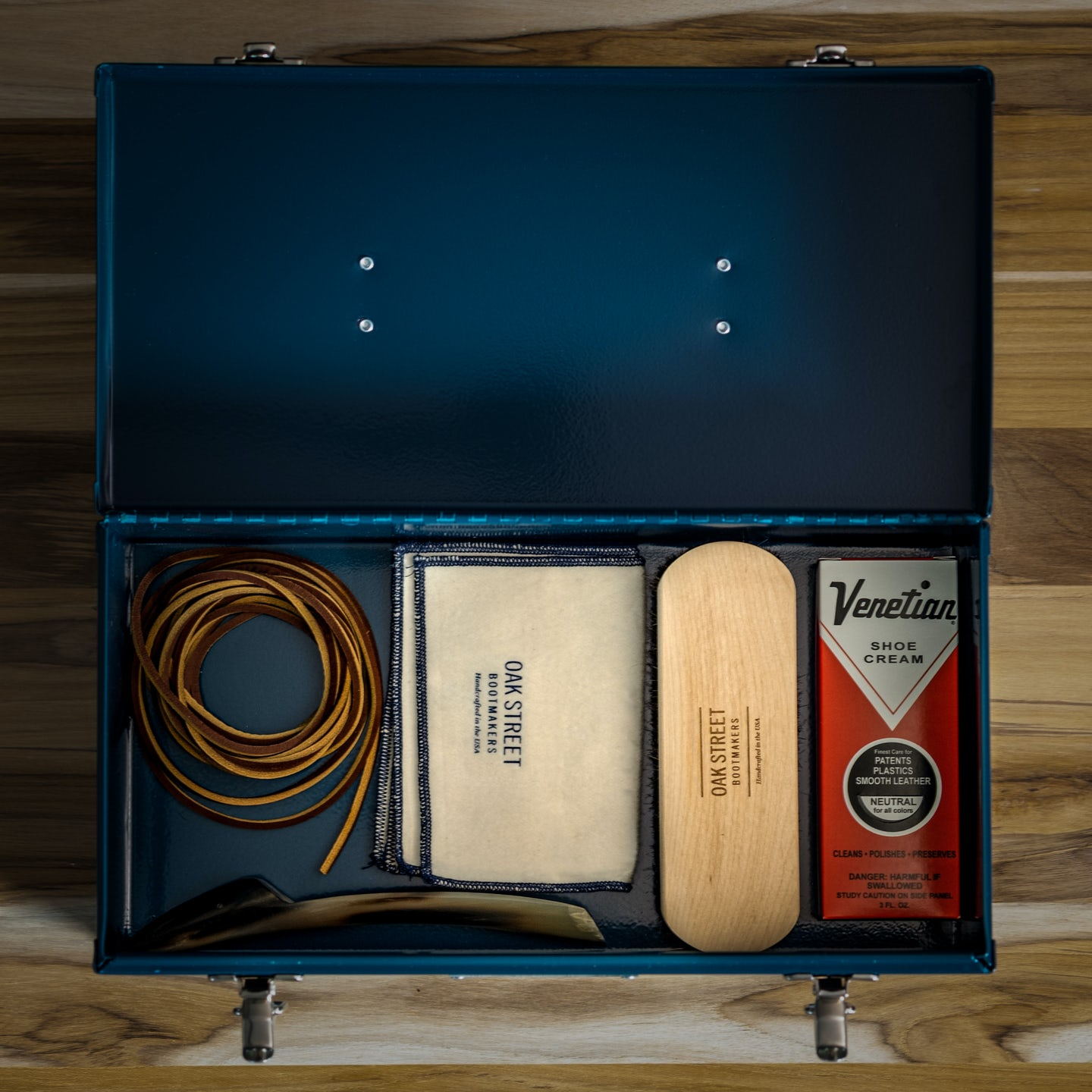 1950 Cobbler's Toolbox - Aegean Blue Cold Rolled Steel - Made in U.S.A. by Oak Street Bootmakers - View 6
