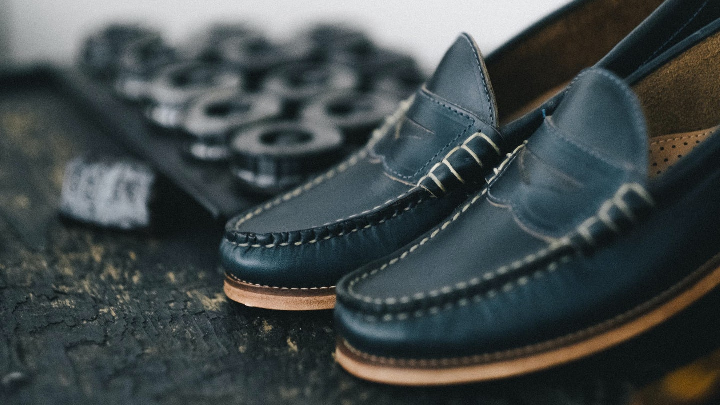 Navy Chromexcel Beefroll Penny Loafer - Feature Image