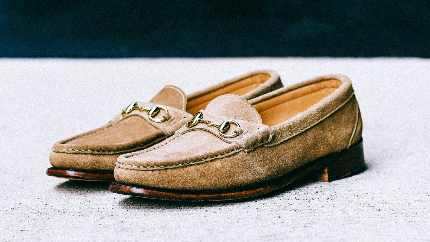 Navy Janus Suede Bit Loafer - Feature Image
