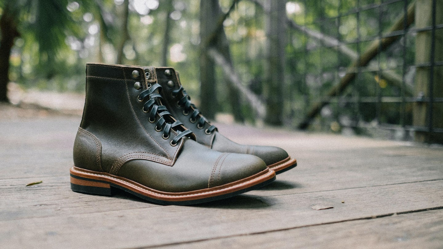 Dark Olive Waxed Flesh Cap-Toe Trench Boot - Feature Image